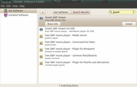 Install swf file player on ubuntu 10.04 LTS