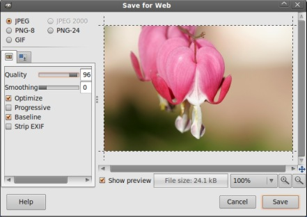 gimp save for web-ubuntu