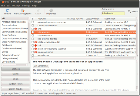 Installing KDE on Ubuntu 11.04