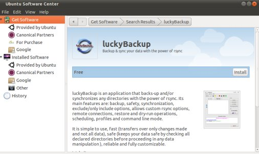 Luckybackup - software on ubuntu