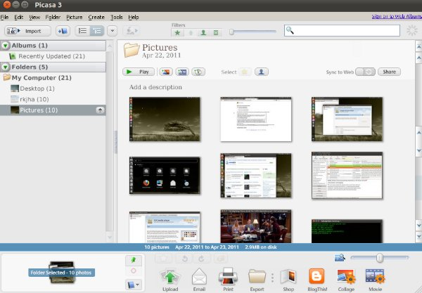 picasa-snapshot on Ubuntu 11.04