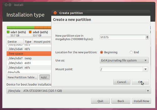creating ext4 partition