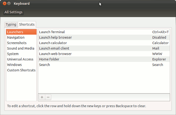 keyboard shortcuts in Ubuntu 11.10
