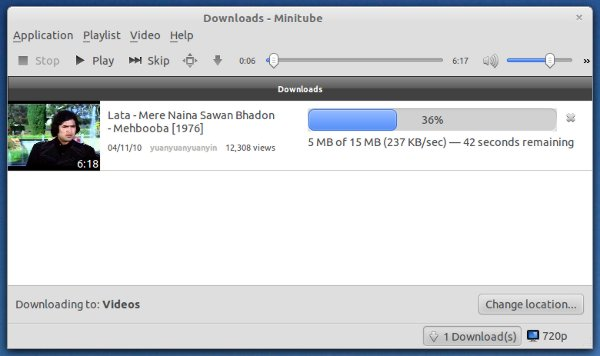 video download using minitube