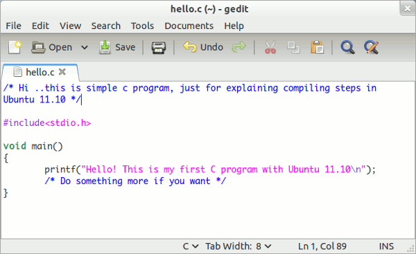 c programming in ubuntu 11.10