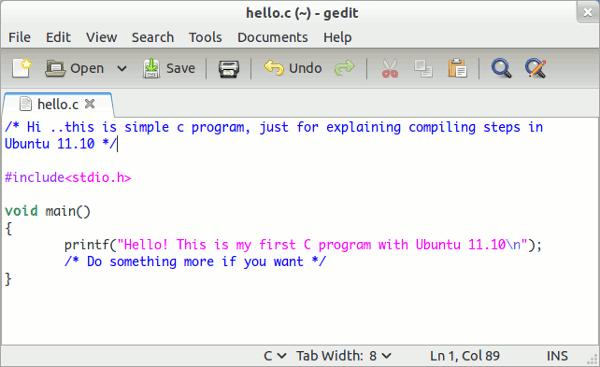 c programming in ubuntu 11.10