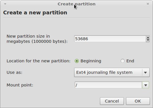 create required partition
