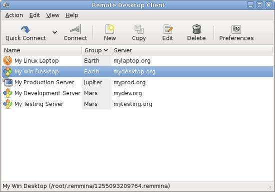 Remmina : Remote desktop client