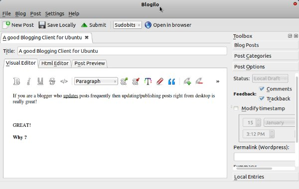 blogilo in Ubuntu 11.10