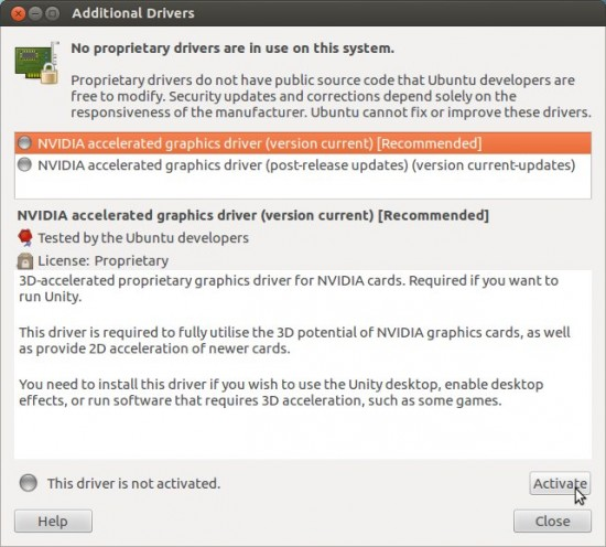 Installing nvidia-drivers
