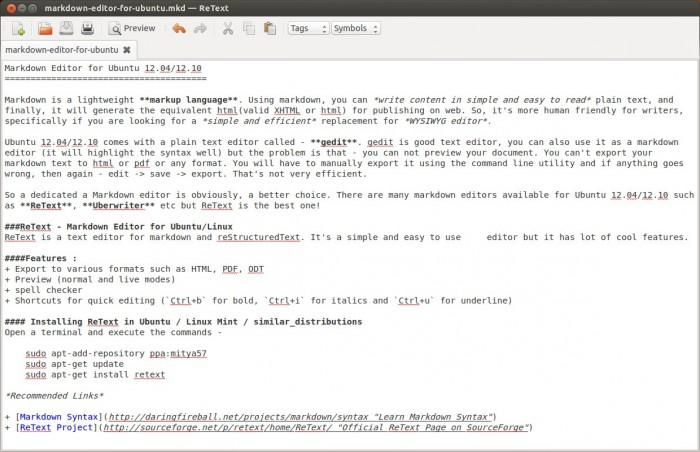 ReText : markdown editor