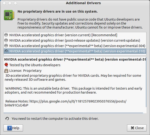 Nvidia 310 Drivers for Ubuntu