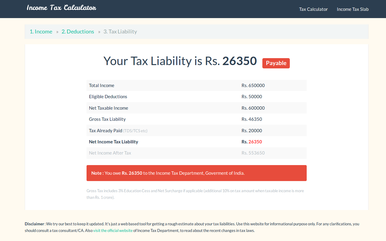 income tax liability