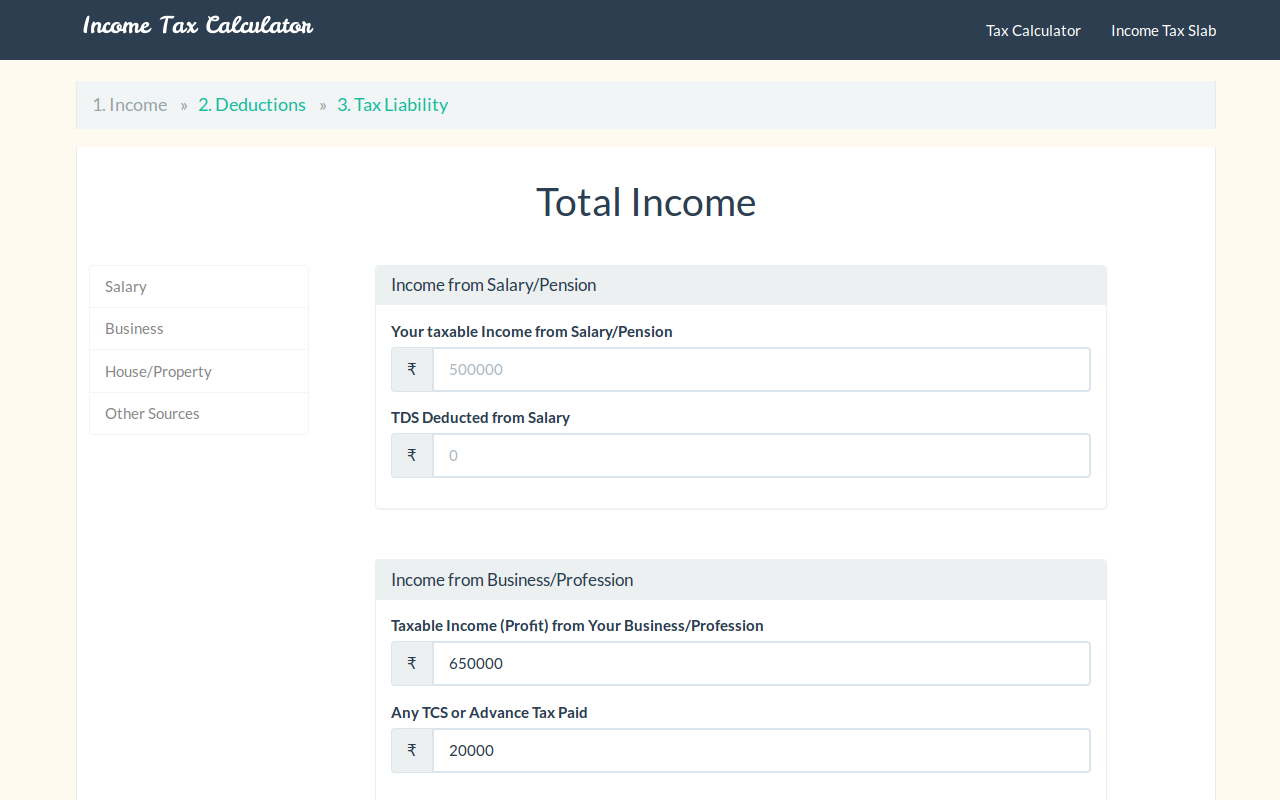 income details